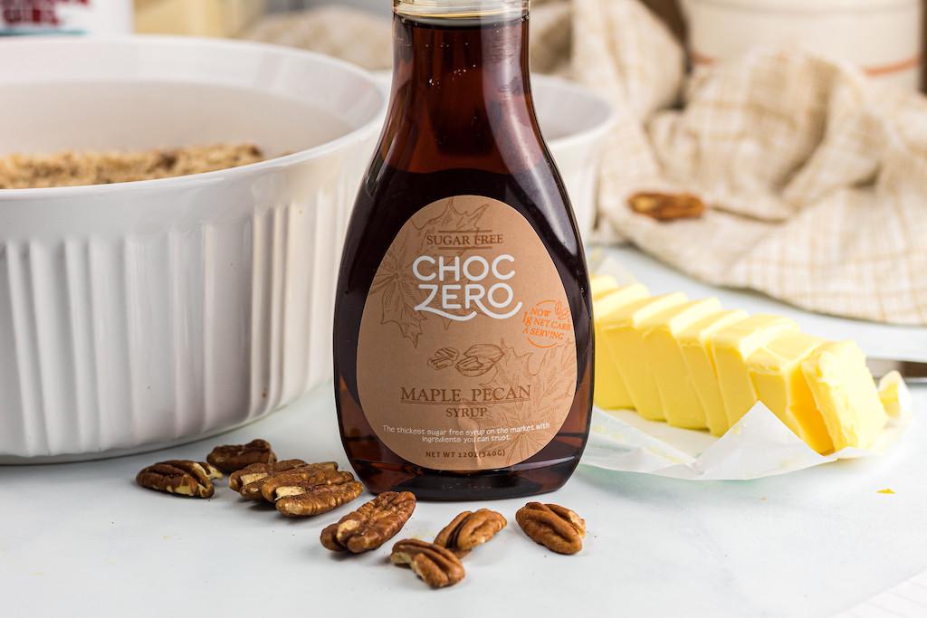ChocZero maple pecan syrup on counter