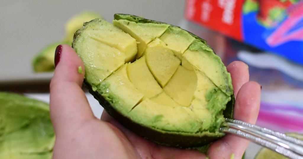 half an avocado cut into cubes