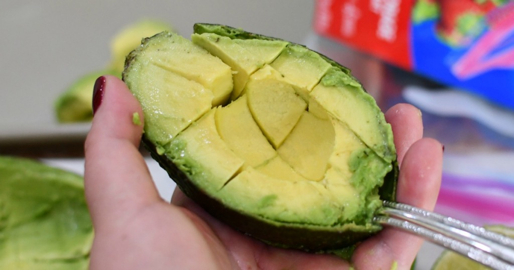 half an avocado cut into cubes