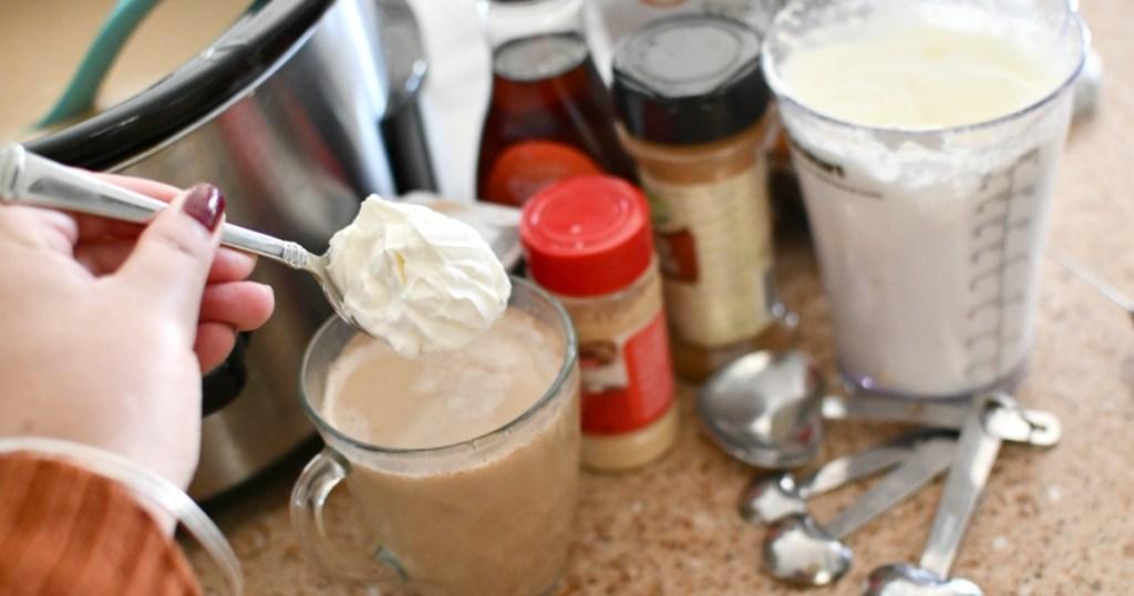homemade whipped cream ob keto gingerbread latte