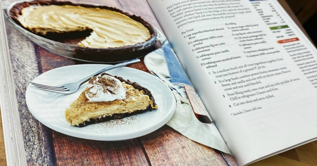 keto peanut butter pie in cookbook