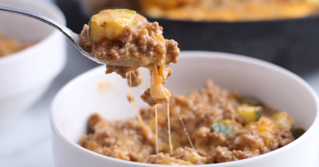 keto hamburger helper in a bowl with a spoon