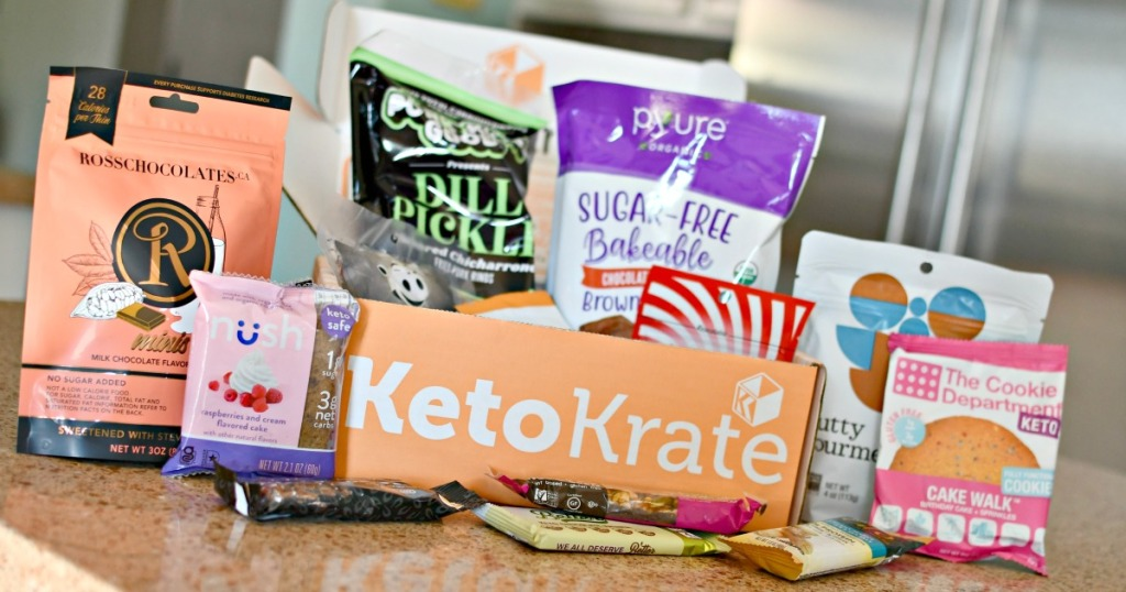 keto krate contents on the kitchen counter