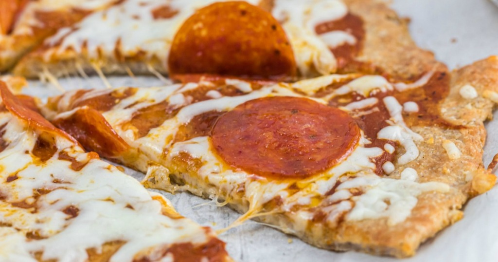 keto pepperoni pizza slice