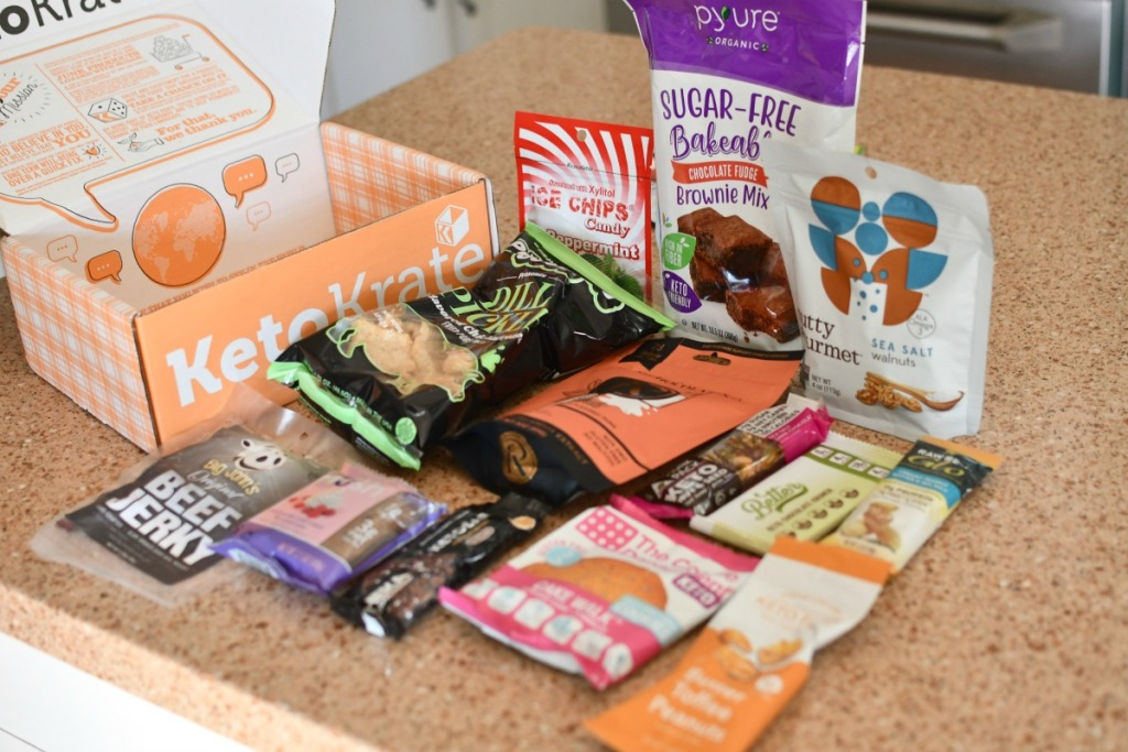 keto snacks from snack krate on the counter
