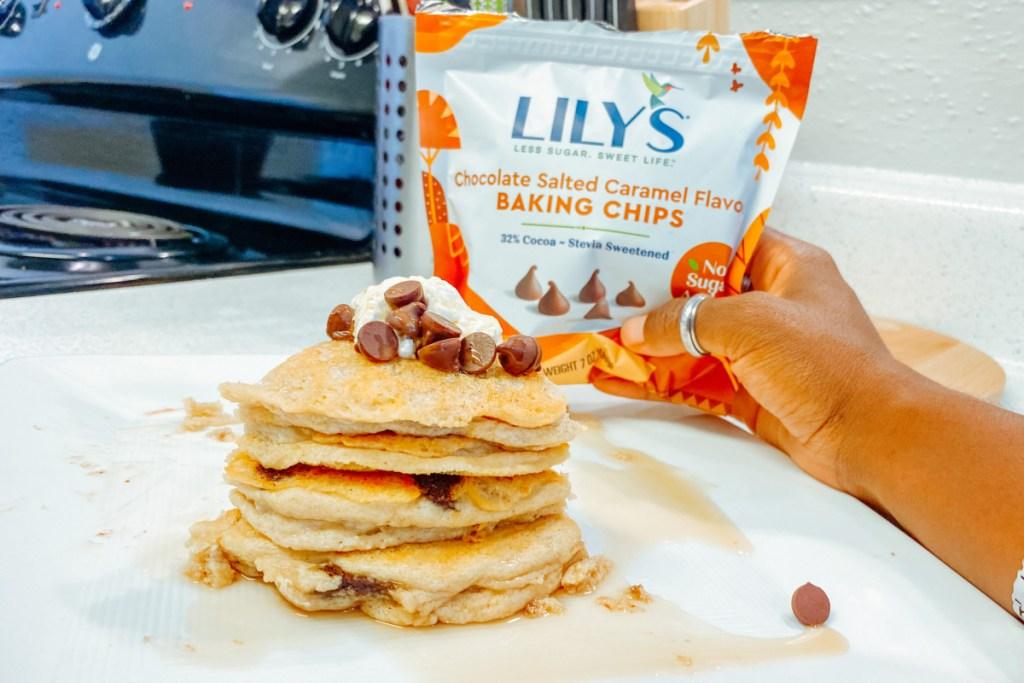 salted caramel baking chips on pancakes