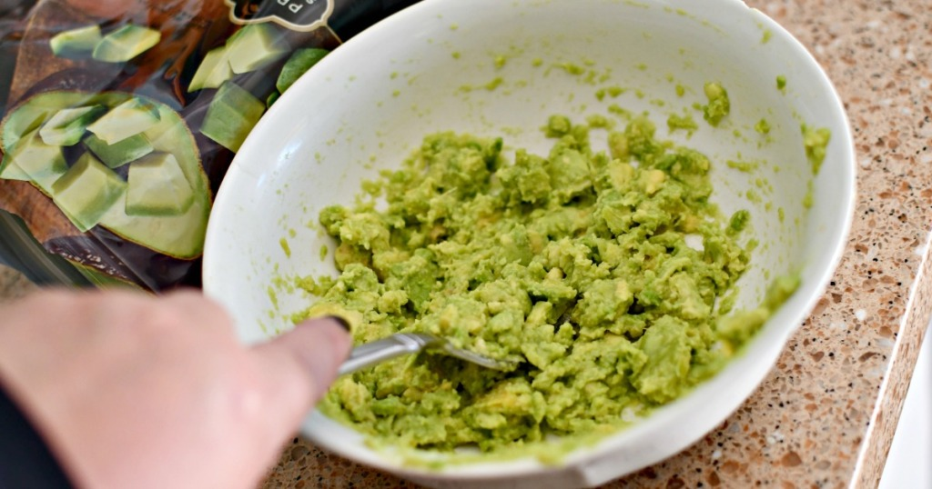 mashing avocados that where frozen