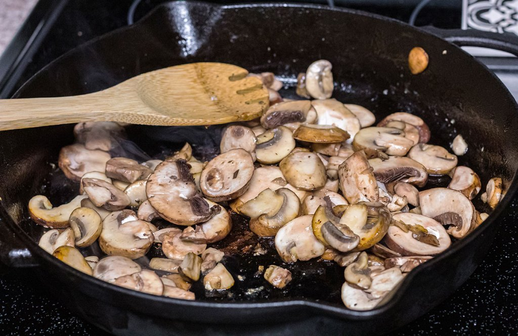 mushrooms in cast iron pan