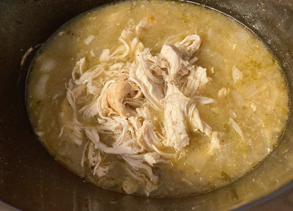 shredded chicken in crockpot for soup