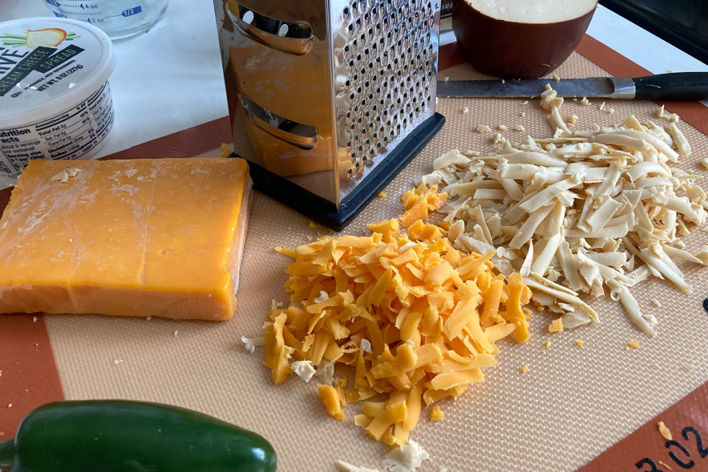 shredded gouda and cheddar