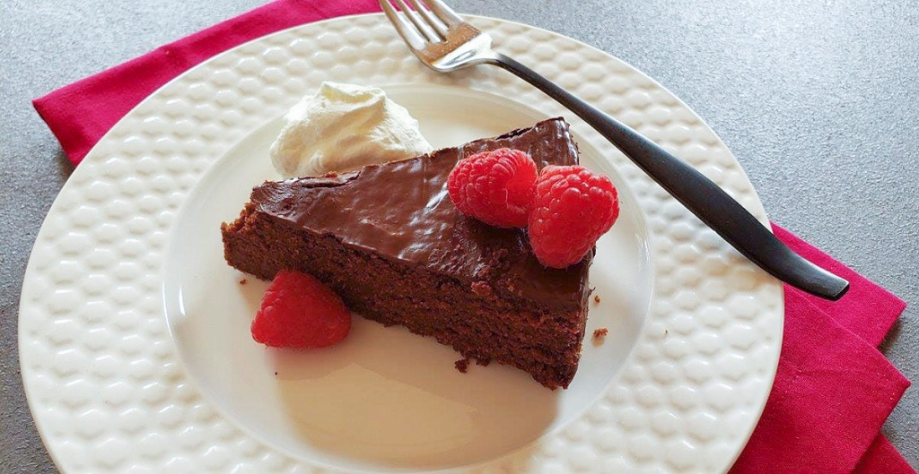 slice of keto chocolate cake on plate