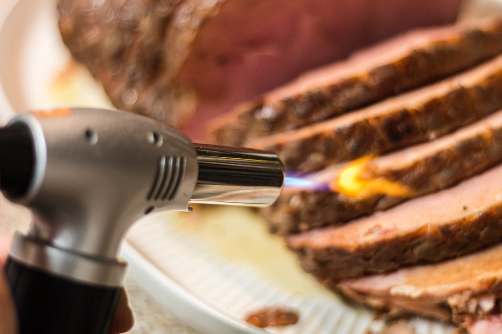 using blow torch on ham roast