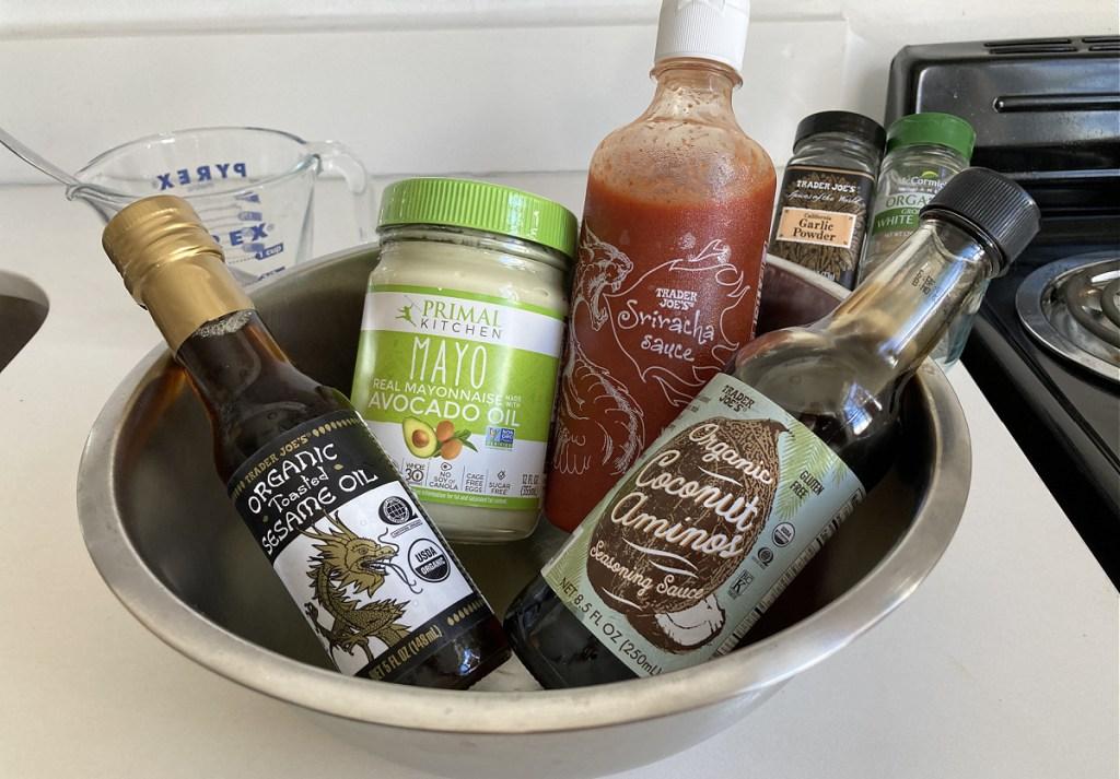 bowl of ingredients for yum yum sauce
