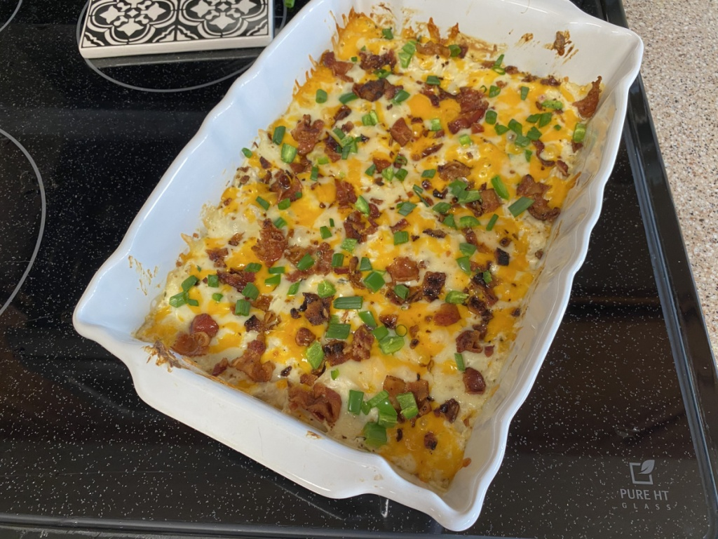 casserole dish on the stove top