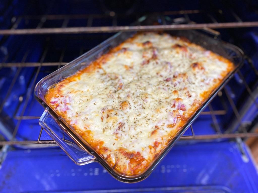 Keto Chicken Pepperoni Casserole in the oven