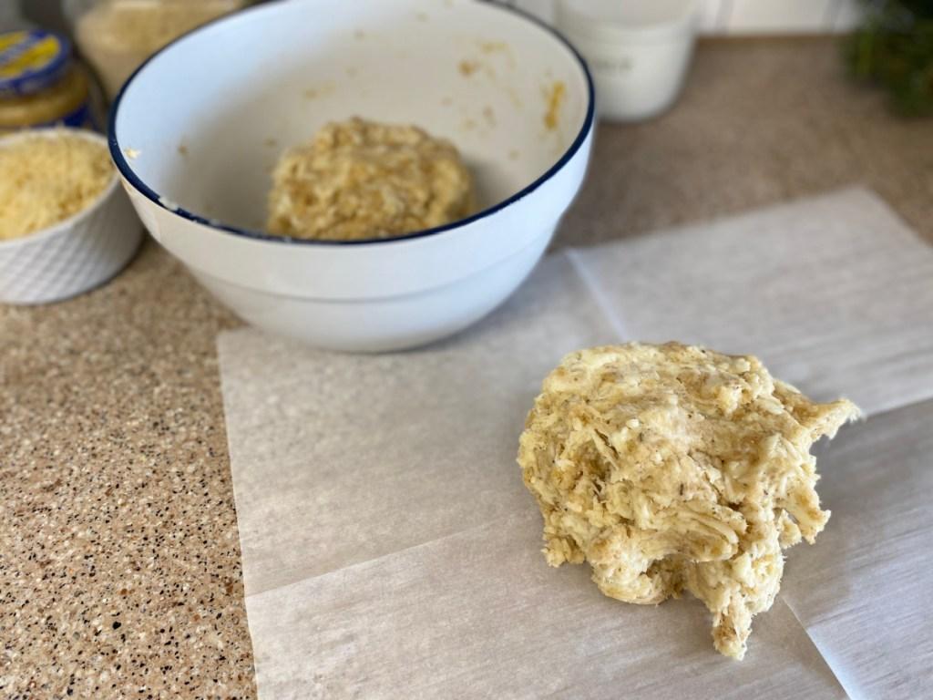 keto dough on parchment paper