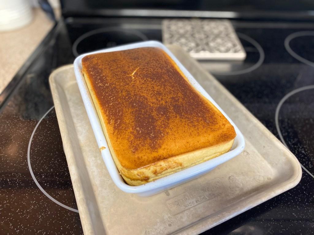 Keto egg loaf bread cooling off