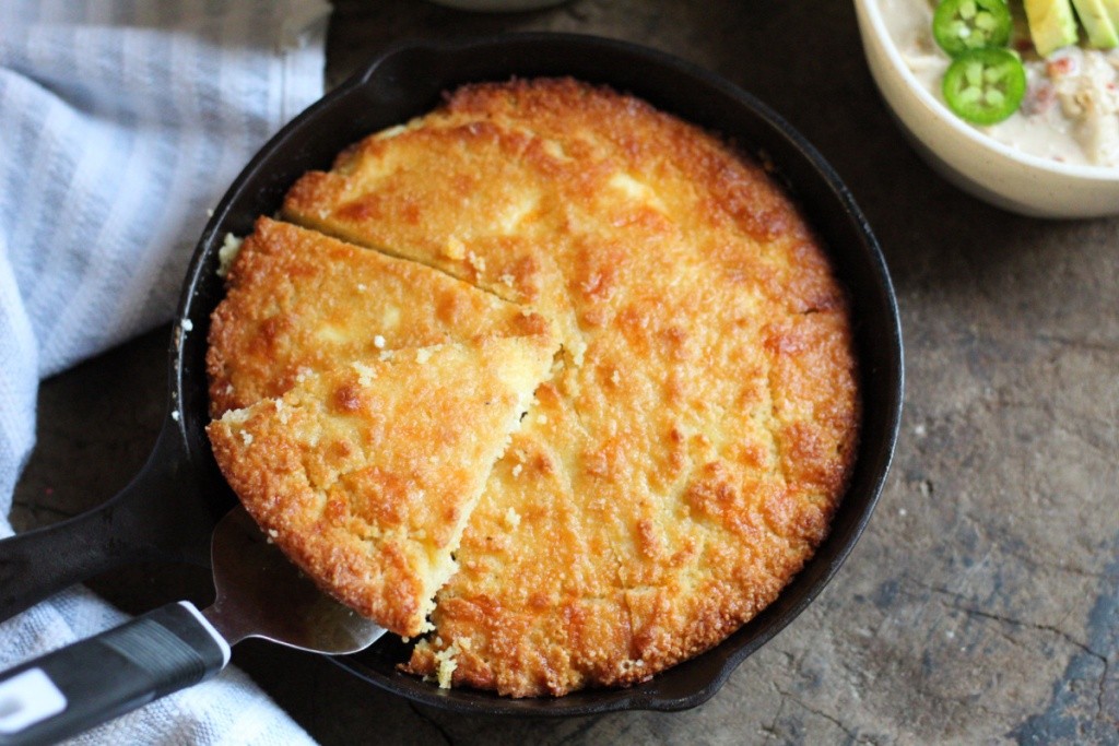 finished low carb cornbread in a cast iron skillet