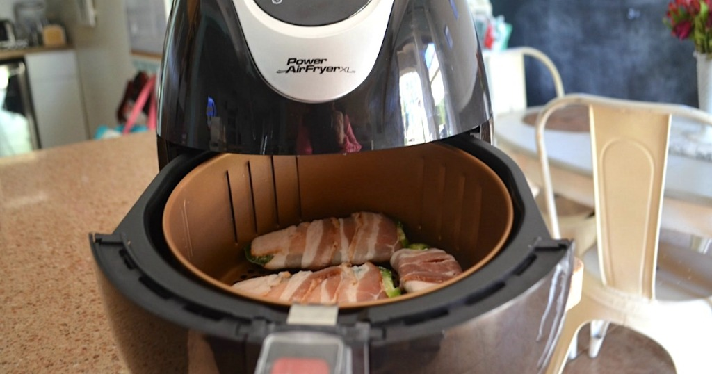air fryer with bacon-wrapped jalapeño poppers