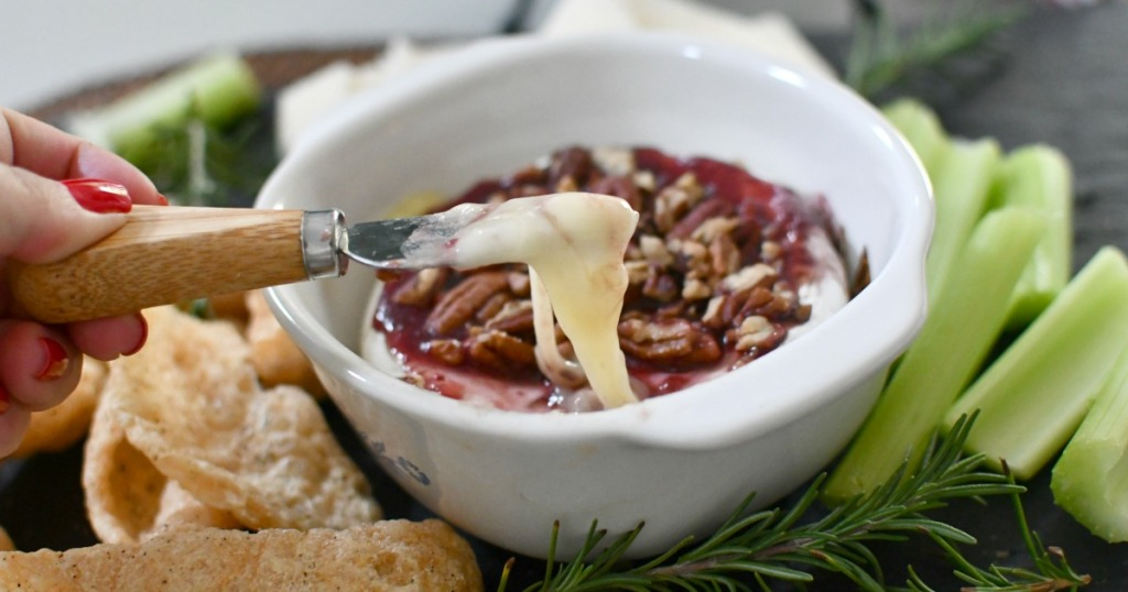 bite of melted keto brie cheese appetizer