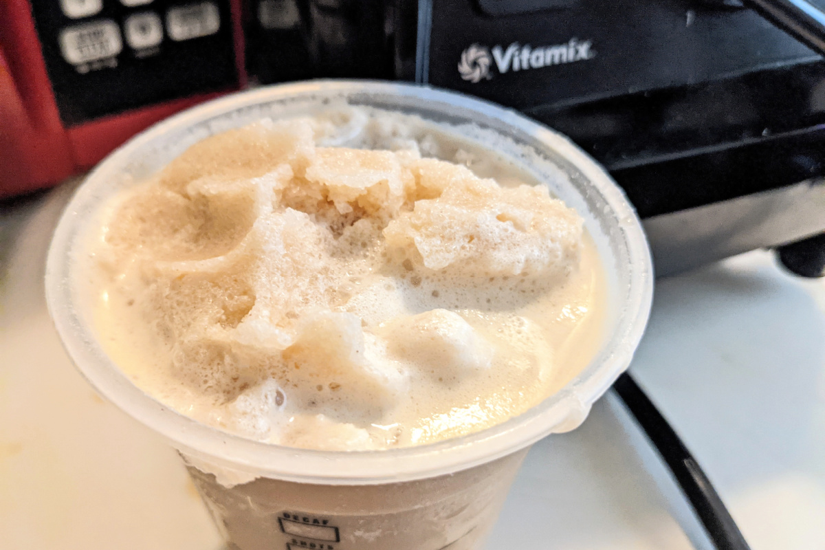 blended Starbucks frappuccino in cup on counter