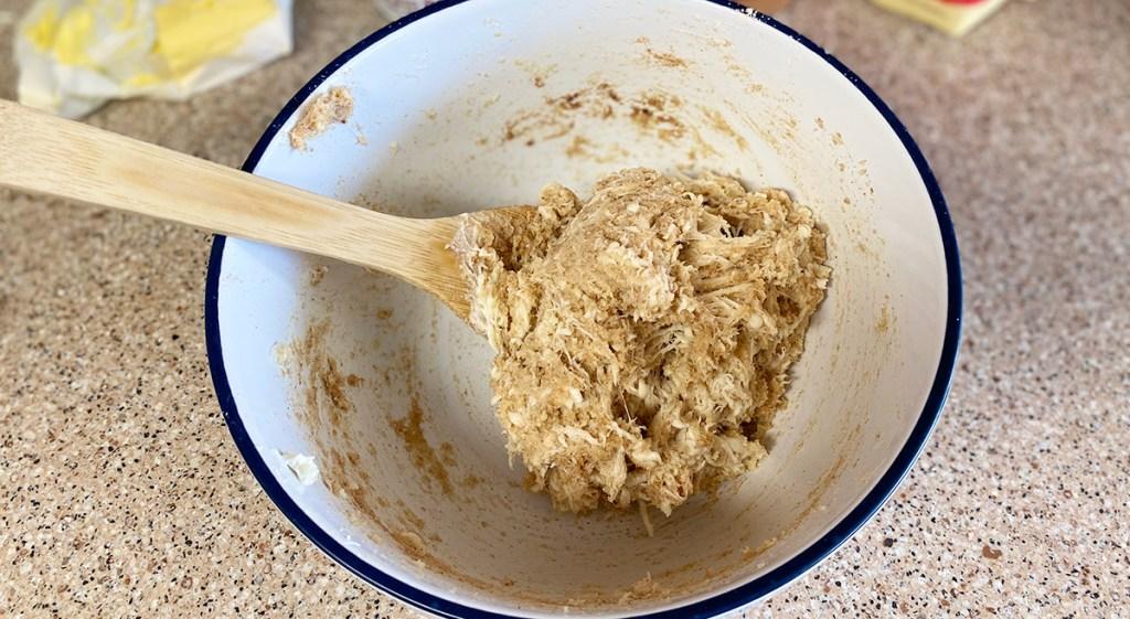 bowl of keto dough for christmas tree pull apart bread