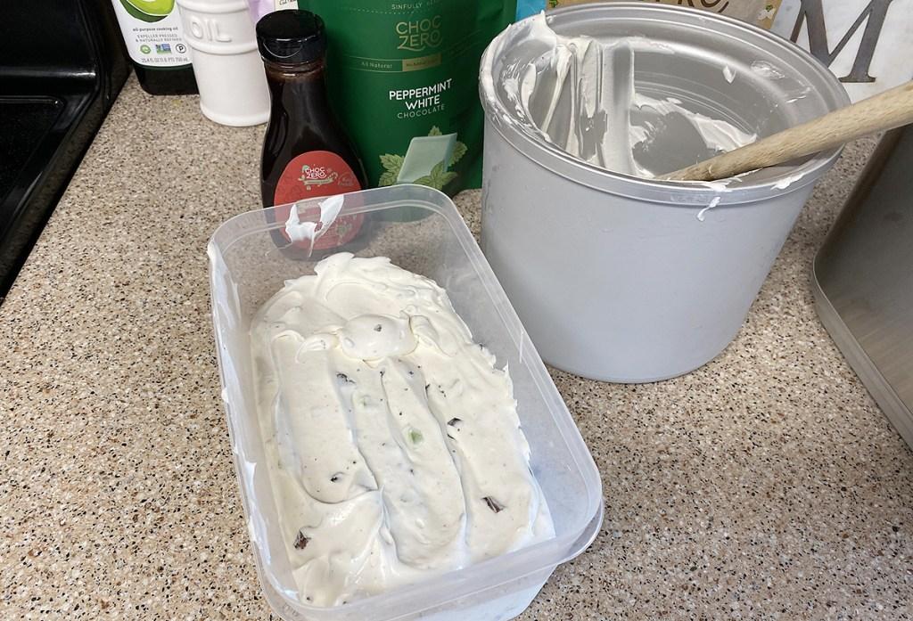 keto ice cream in tub