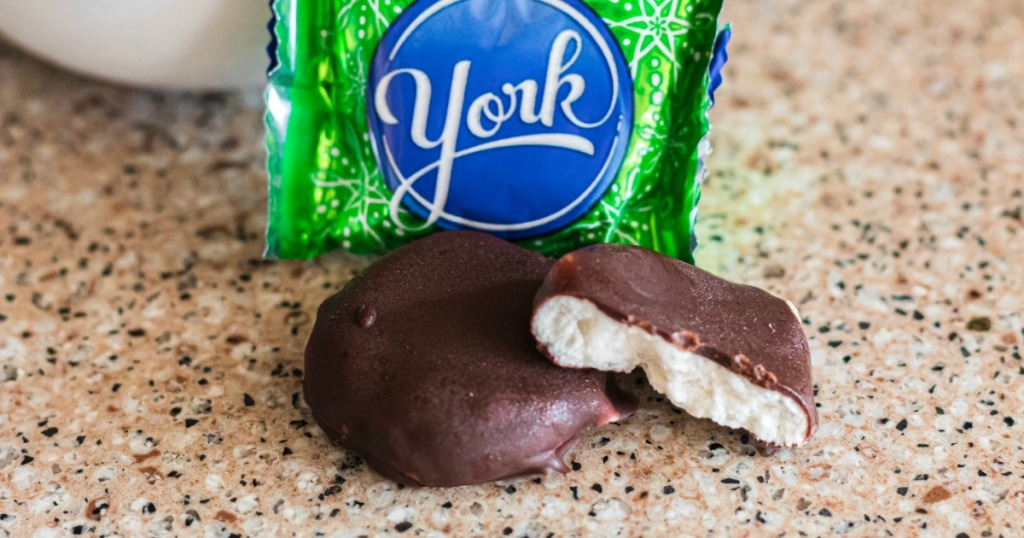 keto peppermint patties next to York package