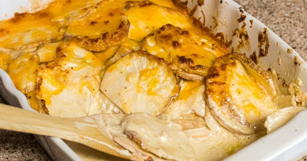 keto scalloped potatoes in casserole dish