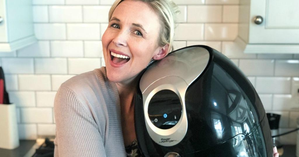 woman hugging power xl air fryer