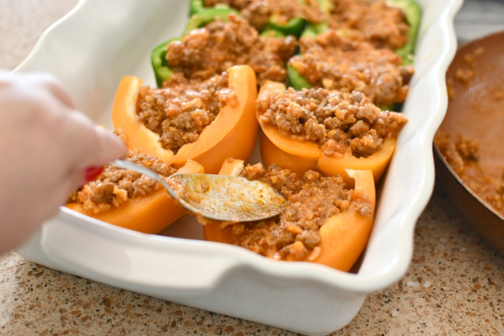 stuffing peppers with ground sausage and cauliflower
