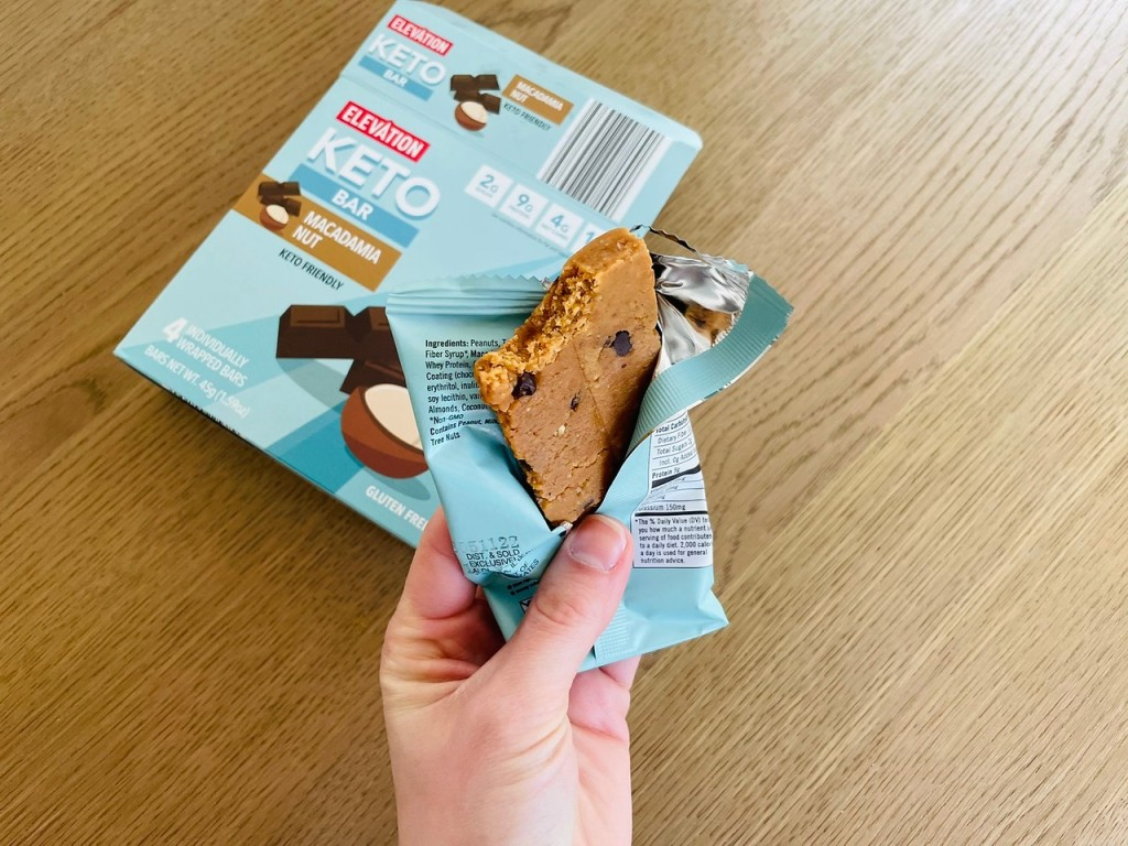 ALDI Keto Bar with bite taken out of it