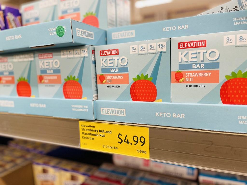 ALDI Keto Bars on store shelf