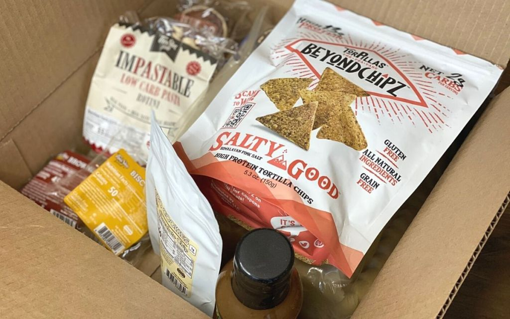 A box of various food items