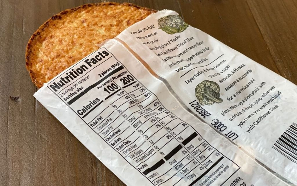 Nutrition information on cauliflower thins package