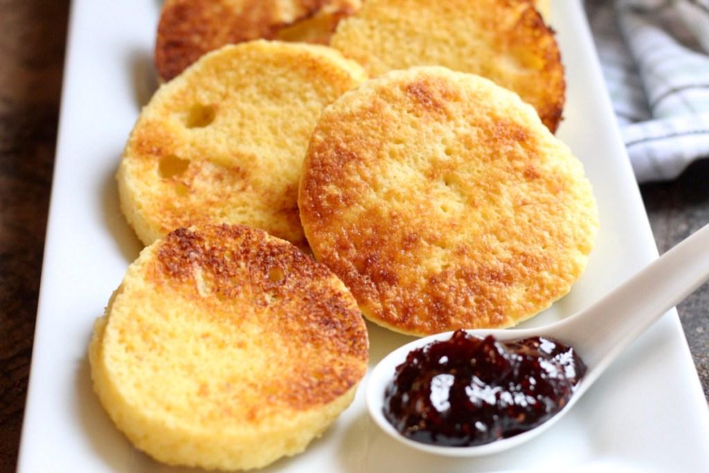 keto english muffins on a platter