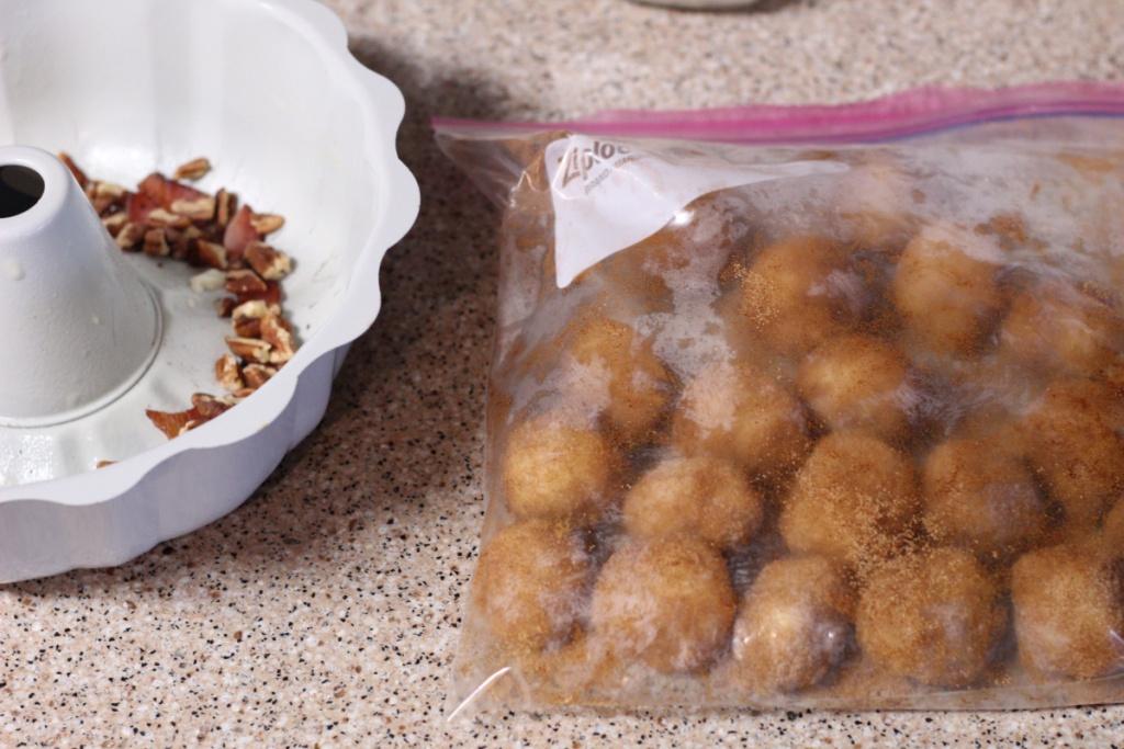 keto dough balls in a ziplock bag
