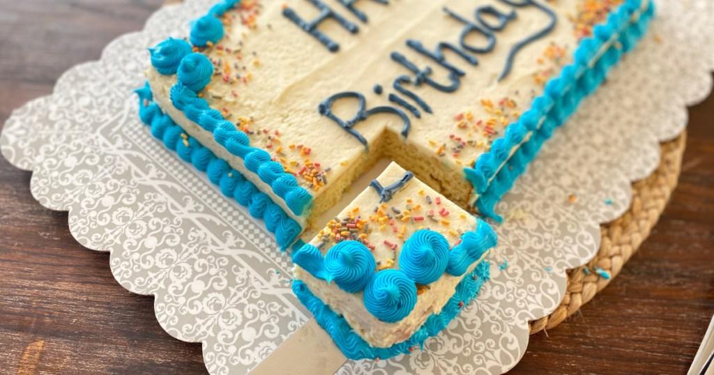 keto sheet cake slice