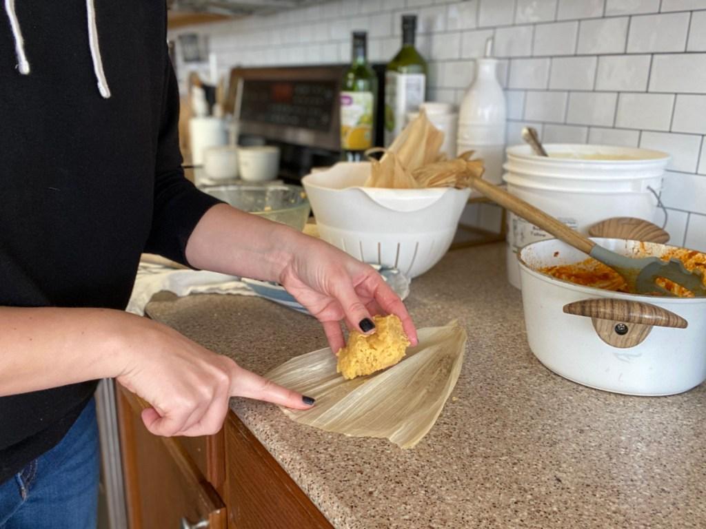 adding keto masa to corn husks
