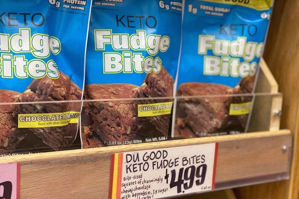 Du Good keto fudge bites on a shelf at Trader Joes