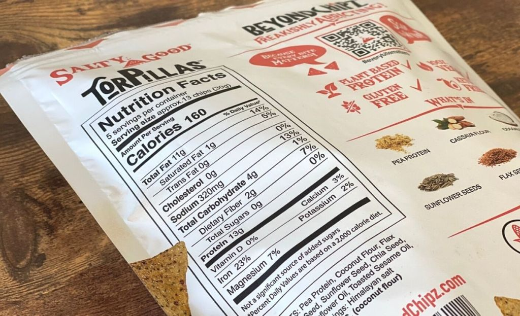 Nutrition information on a bag of keto chips