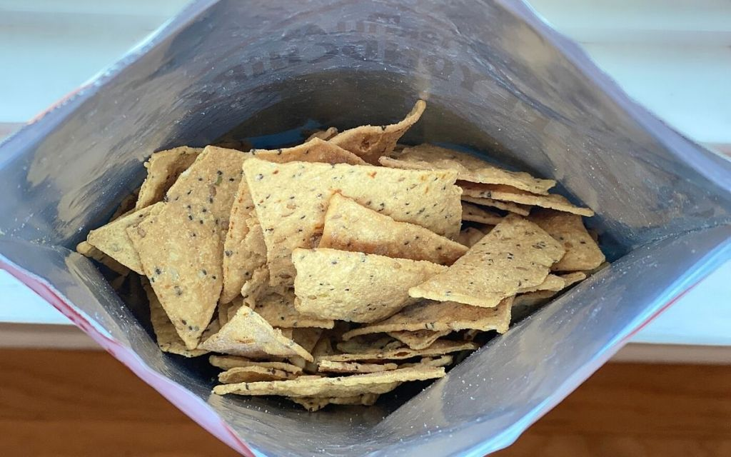 An open bag of keto chips