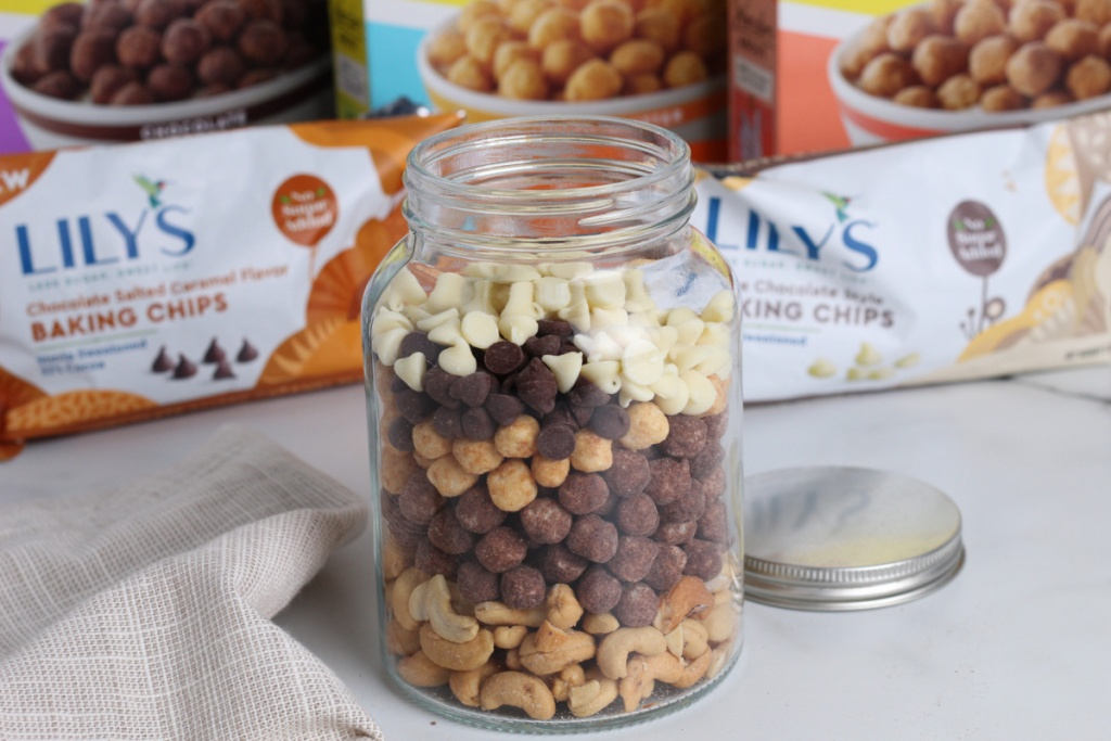 jar of keto friendly chex mix