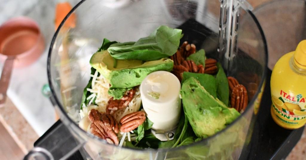 avocado in food process for keto pesto