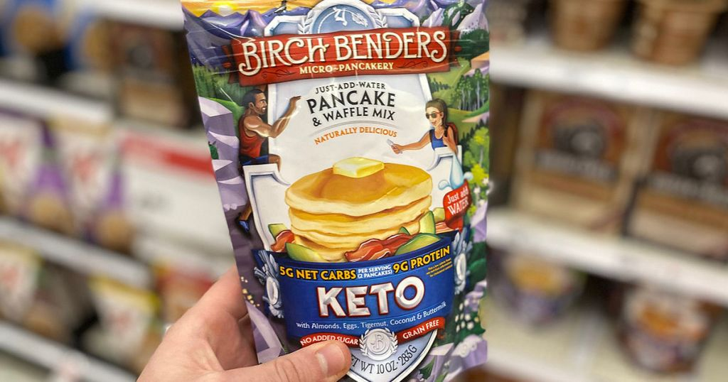 holding pouch of Birch Benders Keto pancake mix