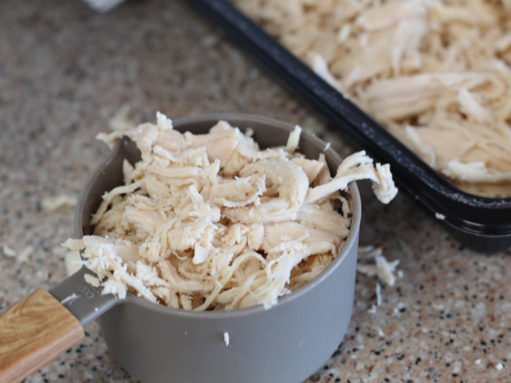 shredded chicken in a cup