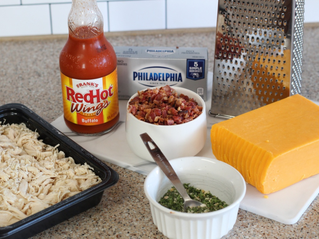 ingredients for buffalo chicken fat bombs