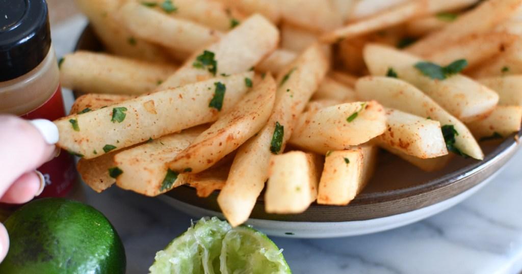 chile lime jicama sticks on a plate