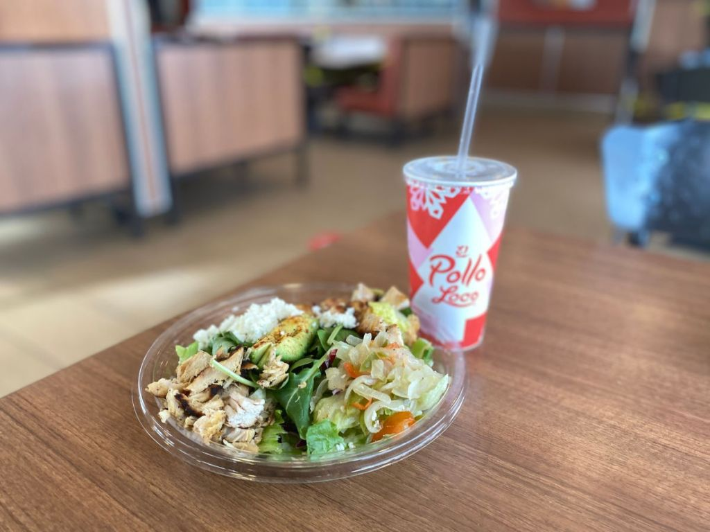 el Pollo loco keto Fit Bowl next to fountain drink