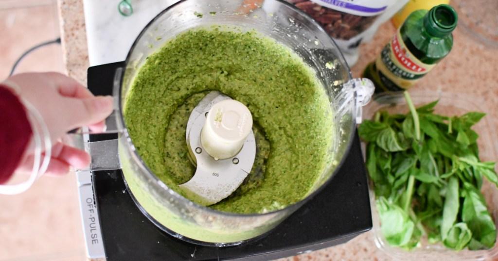 food process with avocado pesto